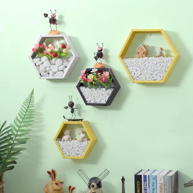Wooden Hexagonal Storage Shelf Living Room Wall Hanging Rack Decorations Organization Bedroom Shelves Home Decor