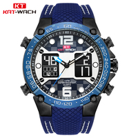 KAT WACH Dropshipping 2018 Sports Watch Men Big Dual Time LED display Watch Face Quality Rubber Band Diver Watch