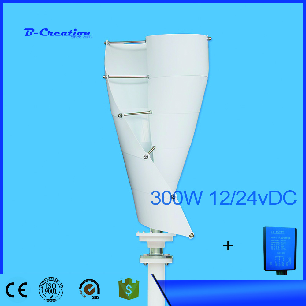 300W 12v 24V Small 3 Phase AC Permanent Magnet Vertical Wind Turbine Generator with 300w waterproof wind controller