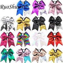 15pcs/lot 8 Inch Big Large Hair Bow Glitter Sequins Elastic Hair Bands Ponytail Holder Women Girls Hair Accessories(China)