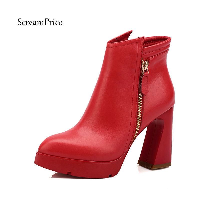 Ladies platform Genuine Leather Thick High Heel Ankle Boots Fashion Zipper Pointed Toe Fall Winter Women Shoes Black Red fashion rivet thin high heel genuine leather ankle boots women side zipper pointed toe winter shoes black wine red