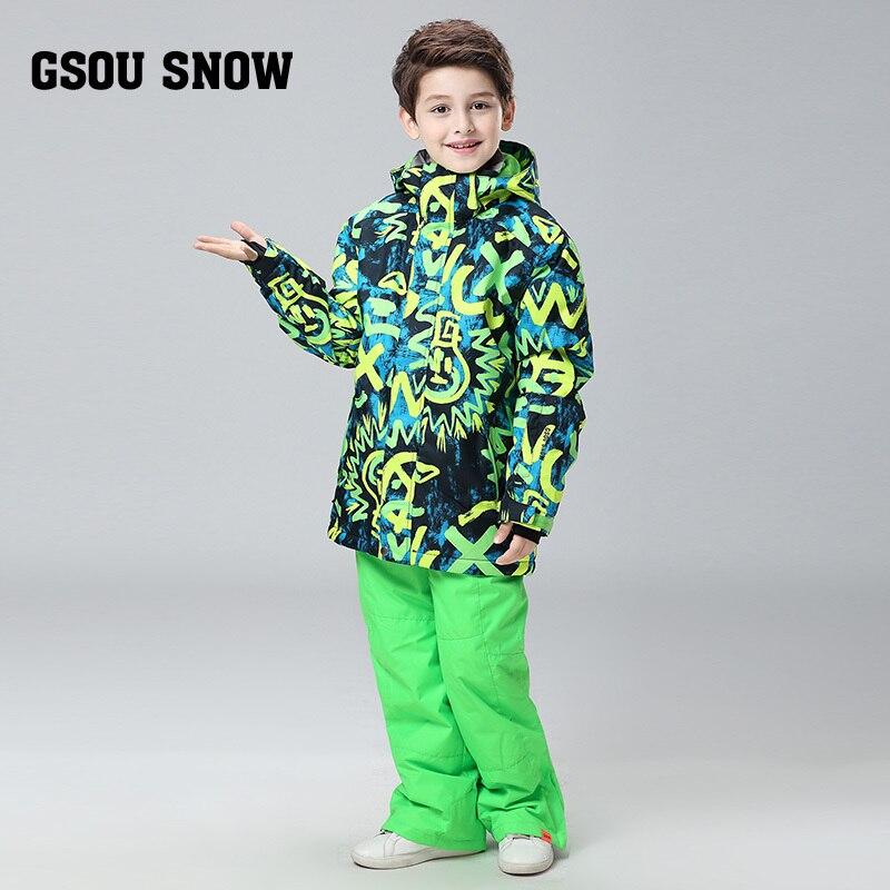Gsou Snow2017 Winter Baby clothing Sets Children Down Jackets Kids Snowsuit Warm baby Ski suit down Jackets Outerwear Coat+Pants