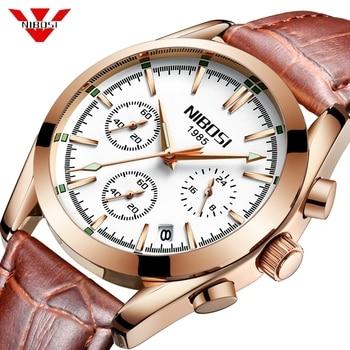 NIBOSI Creative Men Watches Top Brand Luxury Leather Quartz Watch Men Military Waterproof Sport Watch Men Gift Relogio Masculino