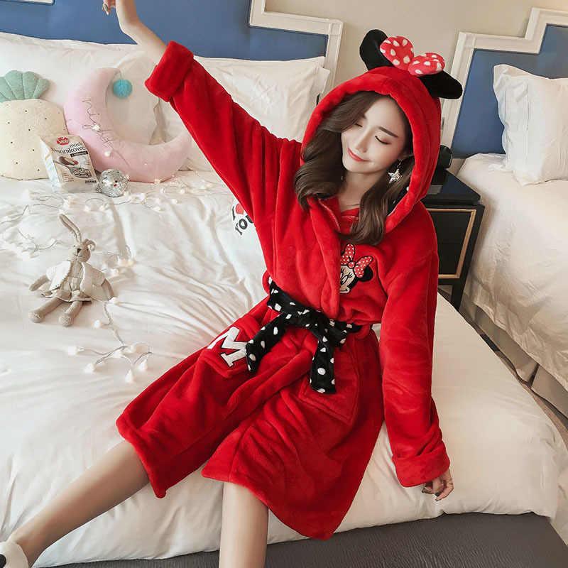 ... Winter Bathrobe Women Pajamas Bath Flannel Warm Robe Sleepwear Womens  Robes Coral Velvet Cartoon Lovely Nightgowns ... 6b9e251d5