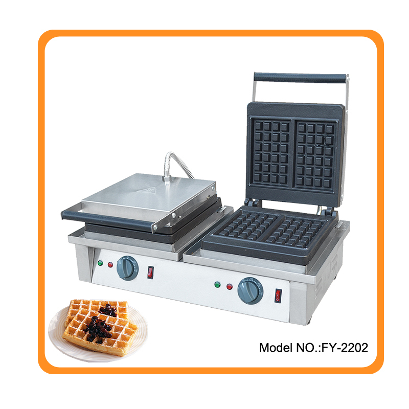 Free shipping 220v or 110v available Commercial Waffle Iron Electric Waffle Baker Cast Iron Plate Price 110v 220v electric 4 slice commercial egg waffle maker machine baker iron one plate waffle baker