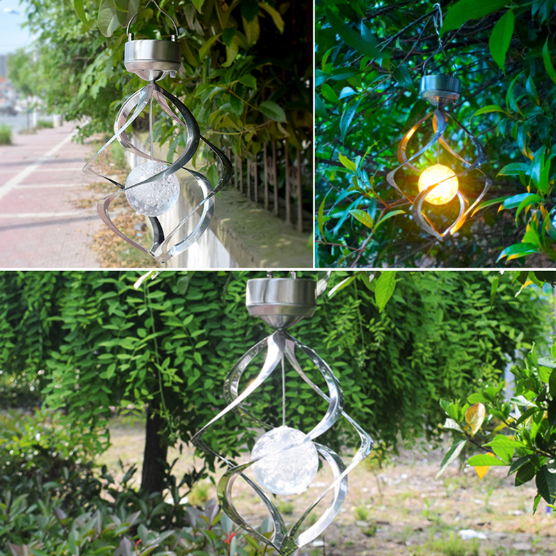Solar Lights LED Outdoor Wind Chimes Color Changing Hanging Light Spiral Spinner Lamp Decoration for Garden Patio Balcony Indoor (13)