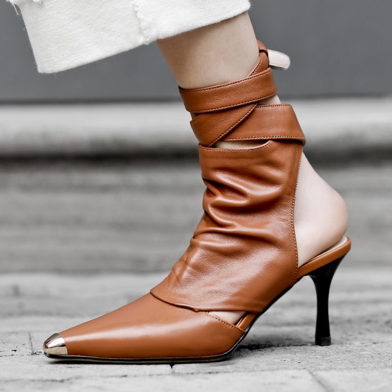 2019 Women Fashion Design Pointed Toe Lace up Gladiator Boots Cut out Rope up High Heel