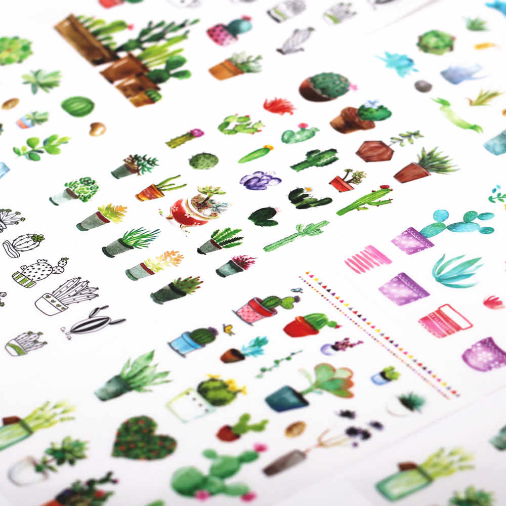 6pcs/lot New Cute Cactus Sticker Meaty Plant Interesting Smile Face Stickers Children Kids Toy For Phone Notebook Message