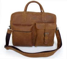 Genuine Leather Retro finishing vintage scrub crazy horse leather male mmobile one shoulder messenger bag briefcase