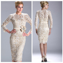 N3396 Cheap Sexy New Ivory Long Sleeves Beaded Lace Custom Made Sash Mid-Carf Evening Dresses Short 2013