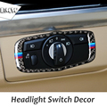 Carbon Fiber Refit Car Headlamp Switch Trim Decor Headlight Switch Frame Decoration Stickers for BMW X5 E70 X6 E71 2008-2013