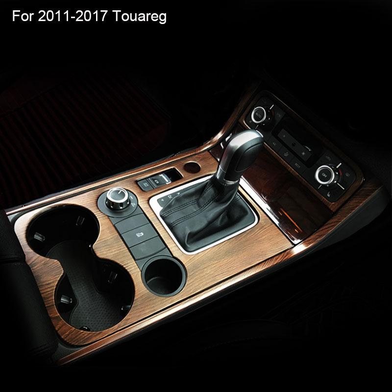 Interior Moulding Car Center Console Protective Cover Beverage Holder Sticker For VW Volkswagen 2011 2014 2016 2017 Touareg