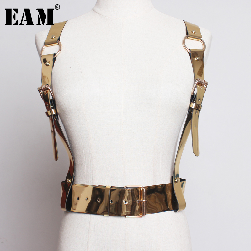 [EAM] 2020 New Spring Summer Pu Leather Metal Color Shining Buckle Personality Strap Belt Women Fashion Tide All-match JT470