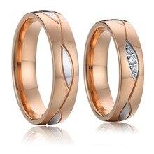 Alianzas de compromiso Vintage anillos de boda para parejas hombres y mujeres niñas Color oro rosa señoras joyería de acero inoxidable