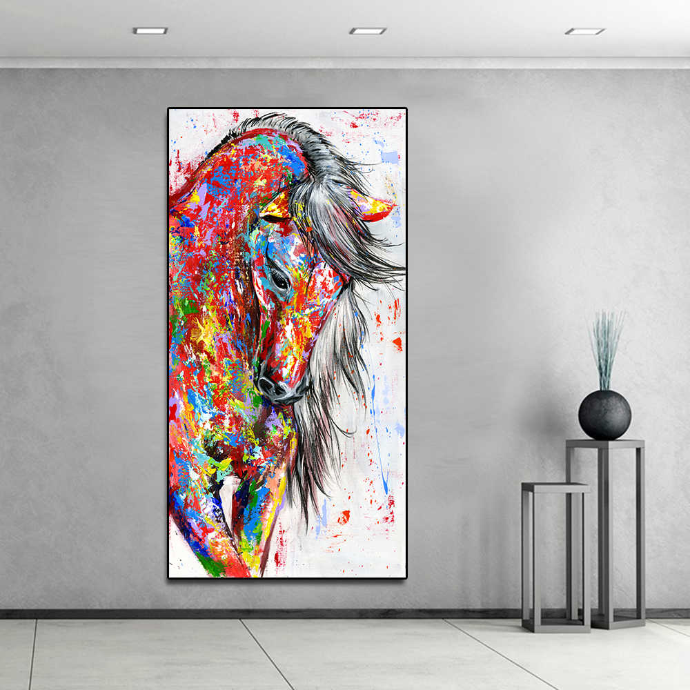 AAVV Big Large Size Oil Painting Animal Wall Art Pictures for Living Room Home Decor Canvas Painting Running Red Horse No Frame