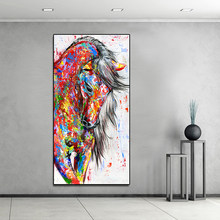 AAVV Big Large Size Oil Painting Animal Wall Art Pictures for Living Room Home Decor Canvas Painting Running Red Horse No Frame(China)