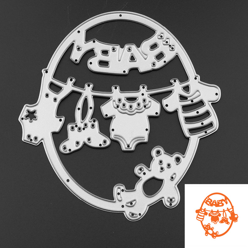 1pc Cute Baby Klær Bear Metal Skjære Dies Embossing Template Stencils for DIY Scrapbook Album Frame Fotokort Decor Crafts
