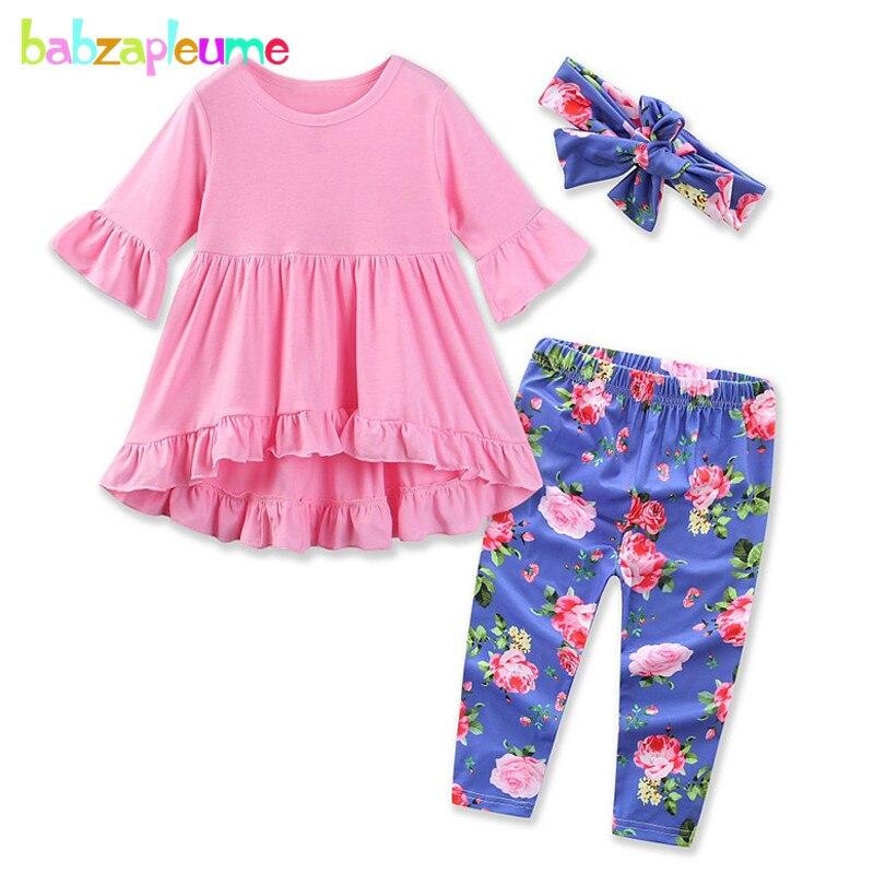 babzapleume 3PCS/3-24Months/Spring Autumn Newborn Clothes Infant Suit Cute T-shirt+Pants+Headband Baby Girls Clothing Set BC1580