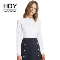 HDY Haoduoyi White Shirts Women Long Sleeve Button Pocket Blouse Office Ladies OL Work Wear Rivet