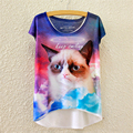 YNM Grumpy Cat tees funny Abstract art print animal T-shirt vibrant women fashion t shirts loose casual brand hispter camisa