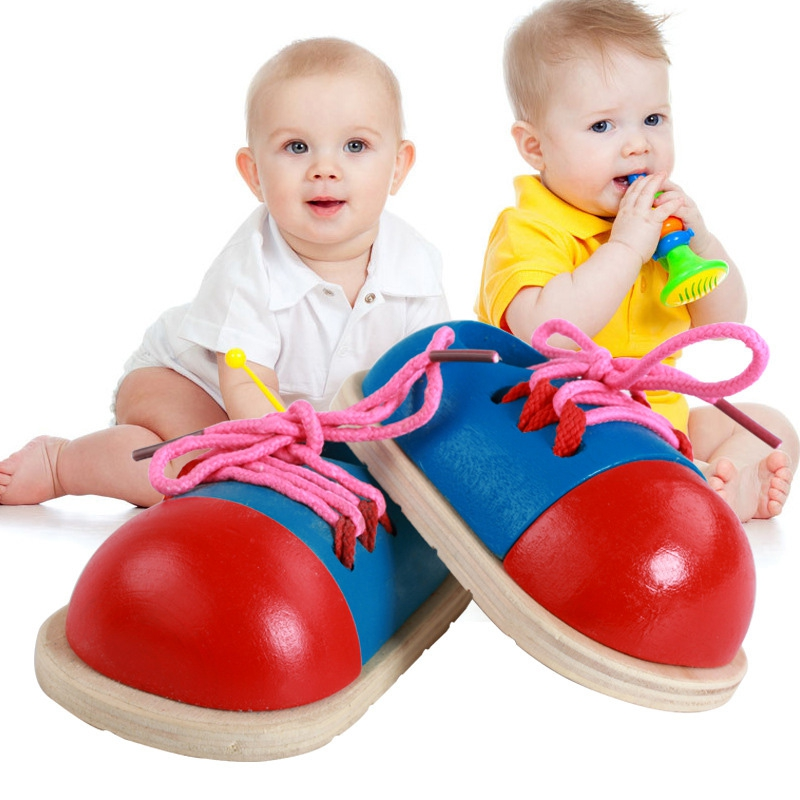 Obedient Cute And Eductional Children\s Early Childhood Wear Rope Threading Shoelace Puzzle Wooden Shoes Toy Props Red Yet Not Vulgar Home