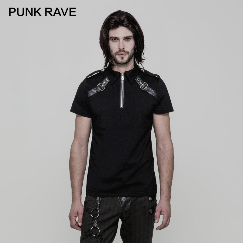 Detail Feedback Questions about PUNK RAVE Punk Rock Military Metal Zipper  Buckle Fitted Men T shirt Elasticity Knitted Leather Loop Adjusting Buckle  Tops ... 6a6beea58ea