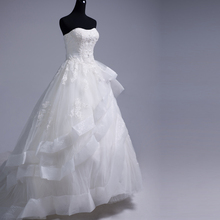 FANGDALING 2018 White Wedding Dresses Strapless Ball Gown