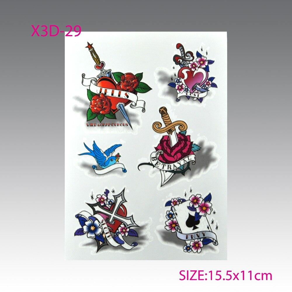 Women 's 3D de colores del tatuaje impermeable art set DIY mini rosas mariposa e