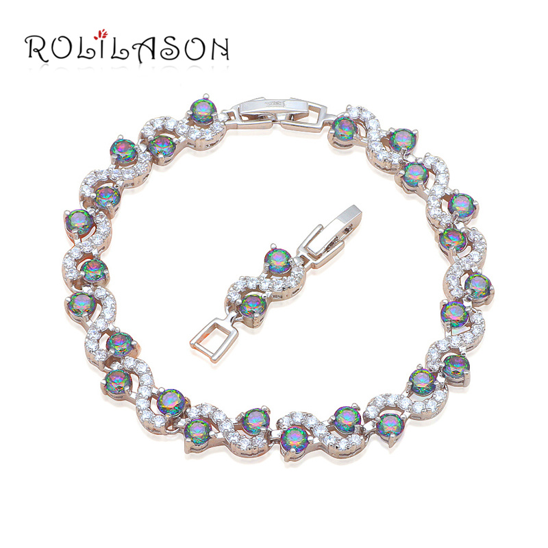 S Delicate Bracelets Round Multicolor Zircon Design Silver stamped Crystal Health Nickel & Lead Free Fashion jewelry TB873