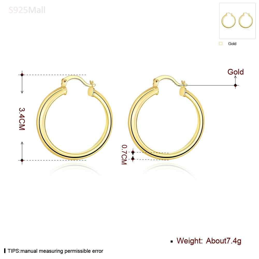 أوروبا نمط المشاهير مبالغ كبيرة هوب دائرة الأقراط 24 كيلو الذهب-اللون أقراط للمرأة الأزياء إلكتروني يا مجوهرات