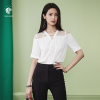 FANSILANEN 2017 New Arrival Fashion Summer Spring Women Blouse Shirts Hollow Out Blouses Lace Chiffon Female
