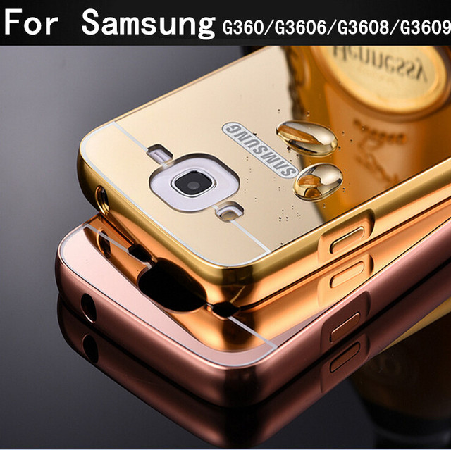 G3606 Case Aluminum Metal Mirror Plating Hard Back Cover for Samsung Galaxy Core Prime LTE SM-G3606 G360 G3609 Phone Cover Case
