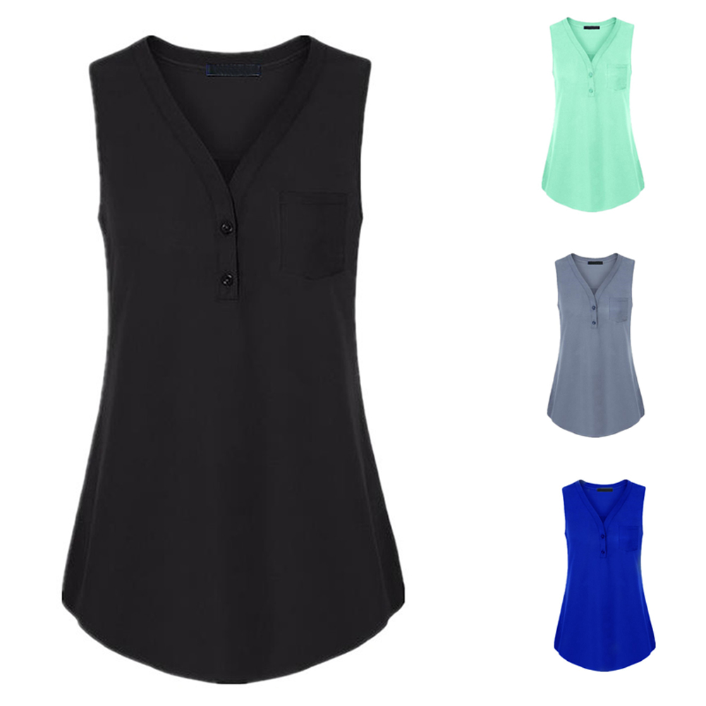 Hot Summer Women V-neck Tank Top Button Sleeveless Loose Solid Vest Plus Size H9