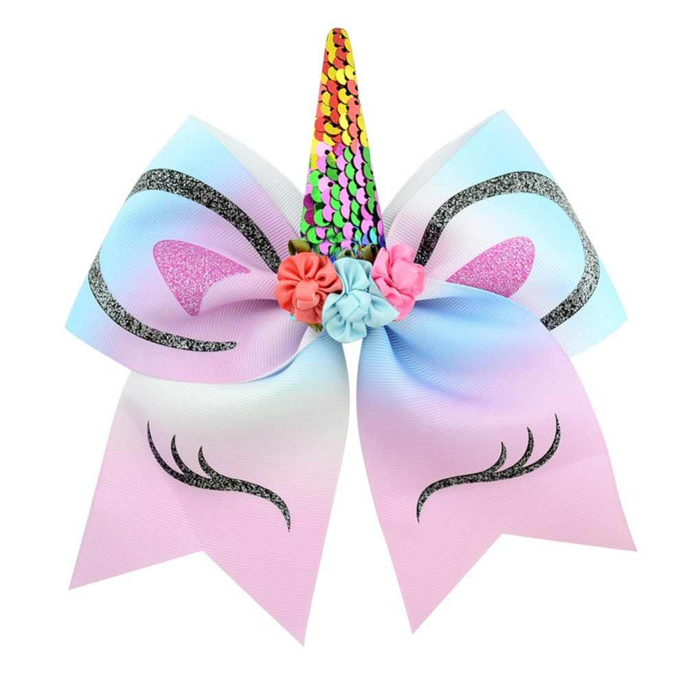 New Colors High Quality 1piece Bow With Cute Ear Design Elastic Band Ribbon Bow With Unicorn Horn Hair Accessories Rope 870