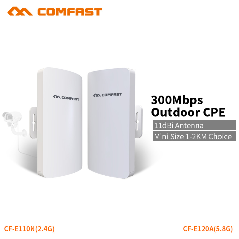 COMFAST Wifi Bridge Mini Outdoor CPE 1-2km 300mbps 5.8G / 2.4G Access Point Extender Receiver For Long Range IP Camera Project