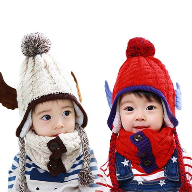 51e74747999 Angel wings Baby Hats Toddler Kids Boy Girl Knitted Children s Lovely Hats  Winter Hat+ Soft scarf Sets Dropshipping  30