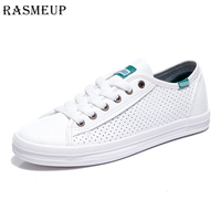 RASMEUP Leather Women's White Sneakers With Holes 2018 Summer Brand Casual Women Vulcanized Shoes Breathable Fashion woman Flats