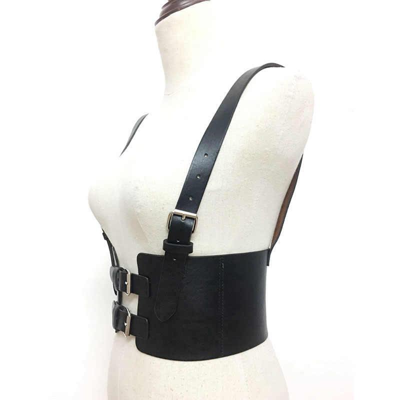 Для женщин Широкие пояса из искусственной кожи Для женщин пояс ковбой груди сбруя бондаж для тела корсет женский массажный пояс для снижения веса подтяжки