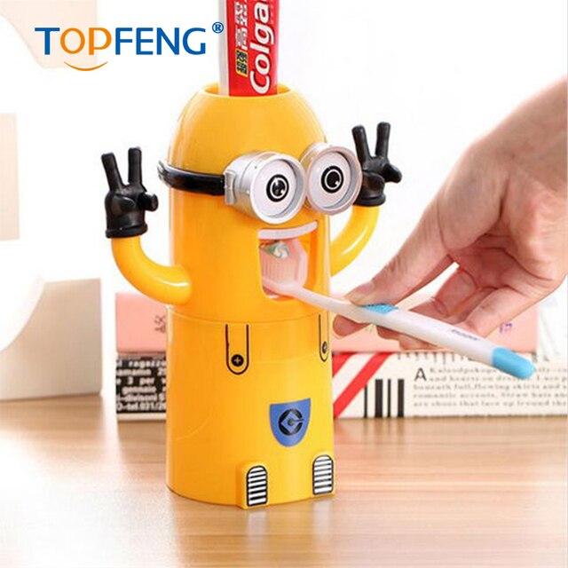 Bad Produkte Minions Automatische Zahnpastaspender Bad Zubehör Kinder  Kunststoff Badezimmer Set Zahnbürstenhalter 1 Stücke