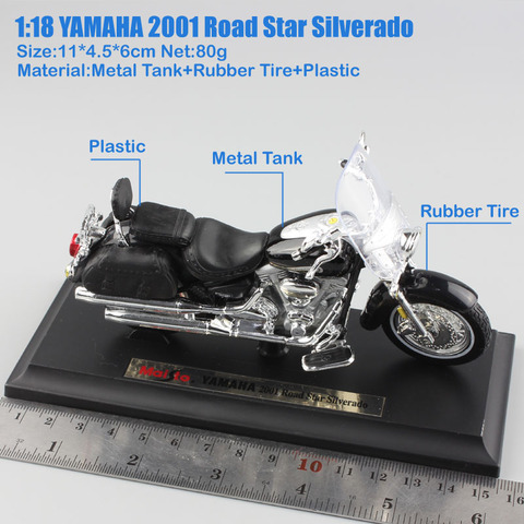 1/18 scale child mini metal diecast YAMAHA 2001 Road Star Silverado touring cruiser motorcycle models collection Toys for kids Lahore