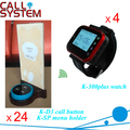 Best selling Digital Buzzer sistema de atendimento ao cliente 4 relógios 24 titular do menu com 24 transmissores chamada ; projeto de lei ; cancelar