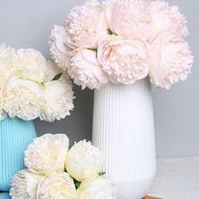 5 Heads Wedding Bouquet Office Table Decor Peony Silk Flowers Simulation Flower artificial flowers  decoration home