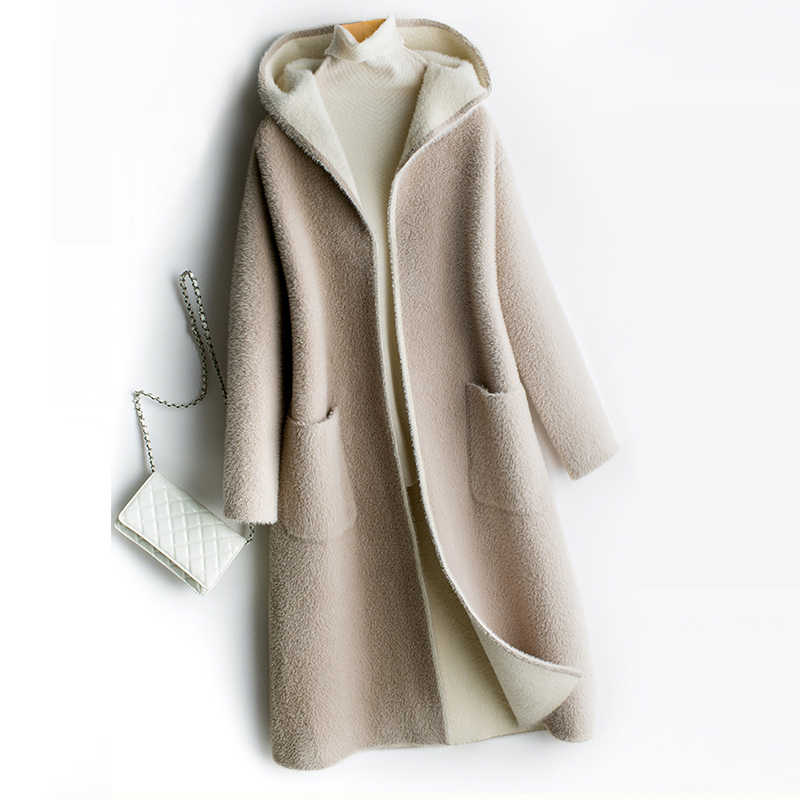2018 Autumn Winter Double Sided Cashmere Coats Women Casual Hooded Long Thicken Warm Woolen Blends Coats Outwears FP1712