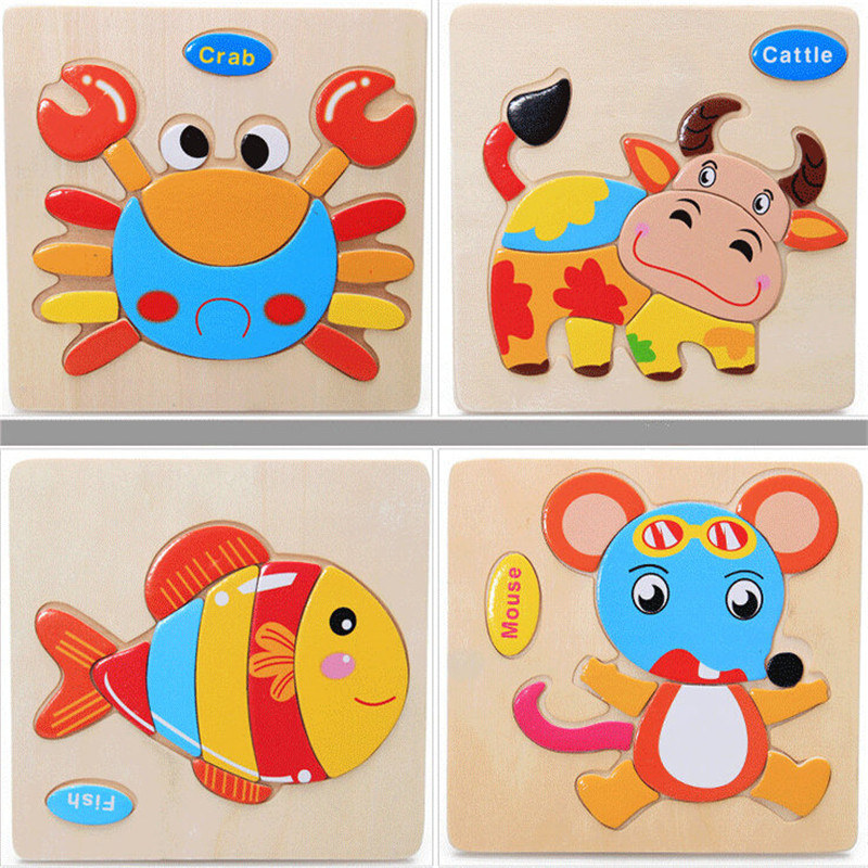Wooden 3D Puzzle Jigsaw Wooden Toys For Children Cartoon Animal Puzzle Intelligence Kids Educational Toy Toys electric spider robot toy diy educational intelligence development assembles kids children puzzle action toys kits