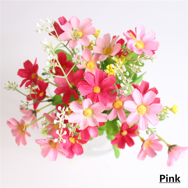 Cute Silk Daisy Artificial Flower With One Bouquet 7 Branch 28 Heads For Wedding Decoration 12