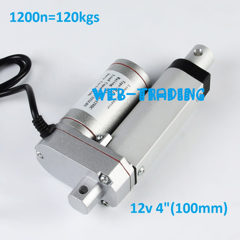 12V/ 1200N=120KG 6.5mm/s mini electric linear actuators ,Stroke 100mm=4inches, tubular motor motion,Free shipping