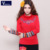 2017 Del Otoño Del Resorte de Cuello Alto de Algodón de manga Larga Camiseta Delgada de Las Mujeres de Calidad Bordado de La Vendimia Básica Suéteres de Gran Tamaño