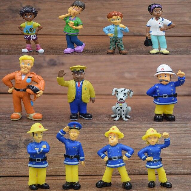12 pçs/set Bombeiros Dos Desenhos Animados Fireman Sam Mini Modelos Oficial Steele Centavo Norman Pouco Cão Crianças Brinquedo Coleção Figuras