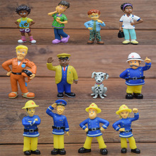 12pcs/set Cartoon Fireman Sam Mini Models Firefighters Officer Steele Penny Norman Little Dog Kids Toy Figures Collection