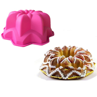 1Pcs Spiral Flower Bouquet Cake Pan Bread Chocolate Bakeware Silicone Mould Fluted Mold Form Bunt Bundt Jelly Puff Dessert Decor